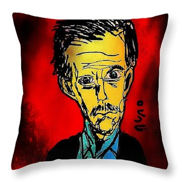 Hugh Laurie Caricature Throw Pillow
