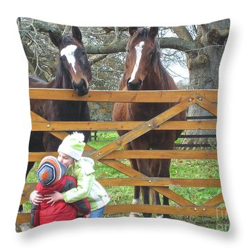 Hugs And Kisses Throw Pillow by Suzanne Oesterling