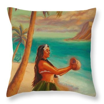 Hula Aloha Throw Pillow