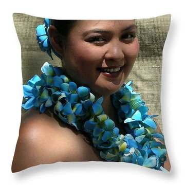 Hula Blue Throw Pillow by James Temple