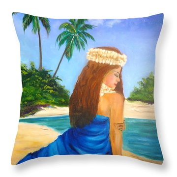 Throw Pillow featuring the painting Hula Girl On The Beach by Jenny Lee