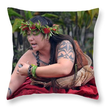 Hula Woman Throw Pillow