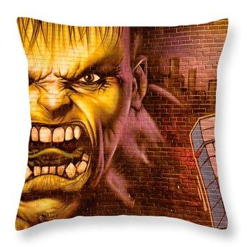 Hulk Graffiti In The Bronx New York City Throw Pillow by Sabine Jacobs