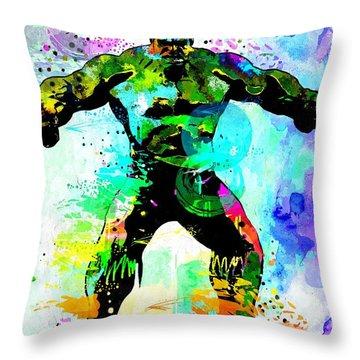 Hulk Watercolor Throw Pillow by Daniel Janda