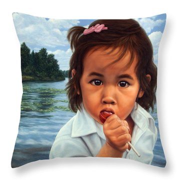 Throw Pillow featuring the painting Human-nature 48 by James W Johnson