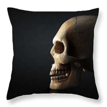 Human Skull Profile On Dark Background Throw Pillow