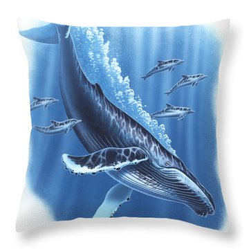 Humback And Dolphins Throw Pillow by JQ Licensing