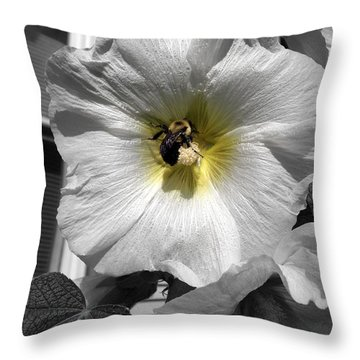 Throw Pillow featuring the photograph Humble Bumblebee by Deborah Fay