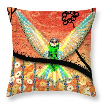 Throw Pillow featuring the digital art Hummer Love by Kim Prowse