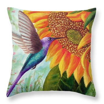 Humming For Nectar Throw Pillow by David G Paul