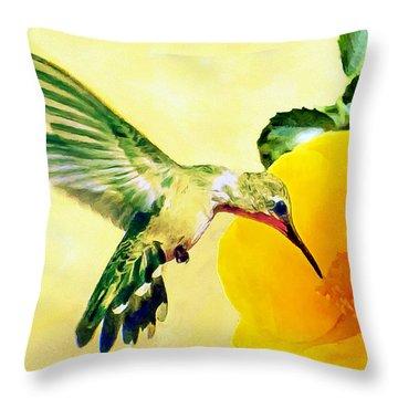 Hummingbird And California Poppy Throw Pillow