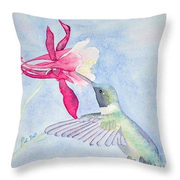 Hummingbird And Columbine Throw Pillow