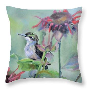 Hummingbird And Coneflowers Throw Pillow