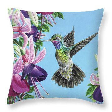 Hummingbird And Fuchsias Throw Pillow