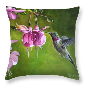 Hummingbird And Fuschia Throw Pillow by Debbie Hart