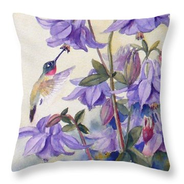 Hummingbird And Purple Columbine Throw Pillow