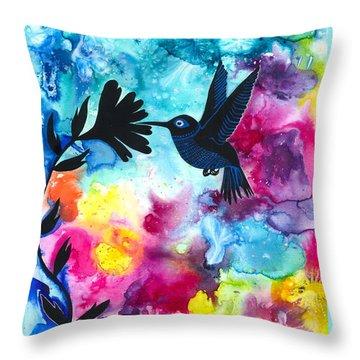 Hummingbird Throw Pillow by Cat Athena Louise