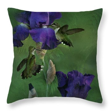 Hummingbird Gathering Throw Pillow