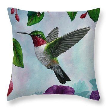 Hummingbird Greeting Card 1 Throw Pillow by Crista Forest