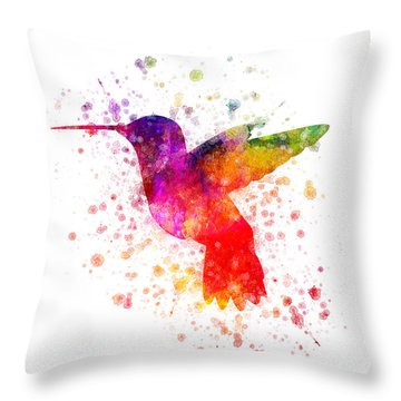 Hummingbird In Color Throw Pillow by Aged Pixel