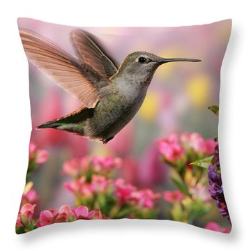 Hummingbird In Colorful Garden Throw Pillow