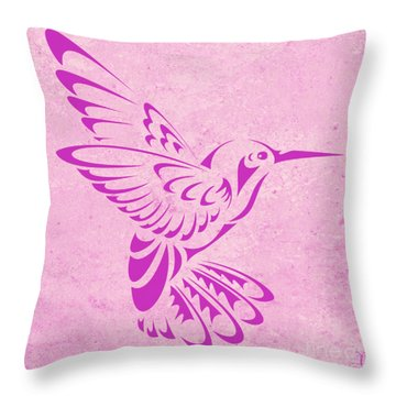 Throw Pillow featuring the digital art Hummingbird In Purple by Mindy Bench