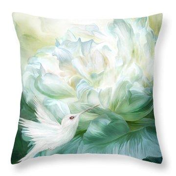Throw Pillow featuring the mixed media Hummingbird Kiss by Carol Cavalaris