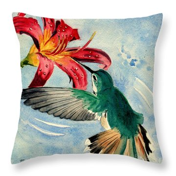 Hummingbird Throw Pillow by Melly Terpening