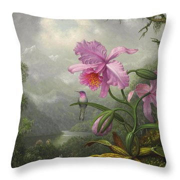 Hummingbird Perched On The Orchid Plant Throw Pillow