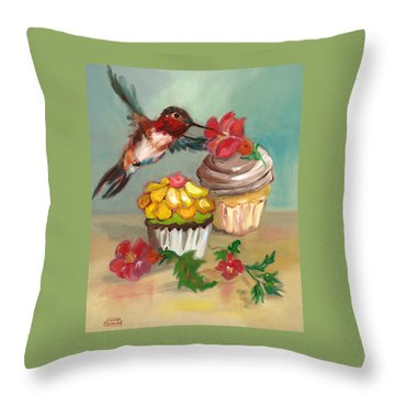 Throw Pillow featuring the painting hummingbird with 2 Cupcakes by Susan Thomas
