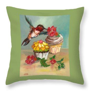 hummingbird with 2 Cupcakes Throw Pillow by Susan Thomas