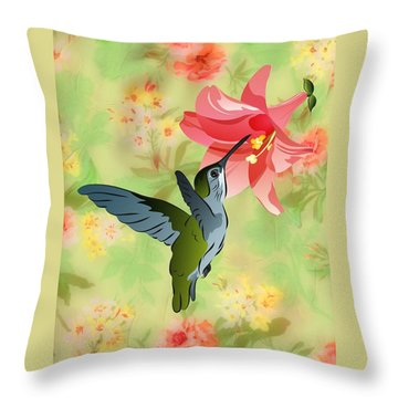 Hummingbird With Pink Lily Against Floral Fabric Throw Pillow