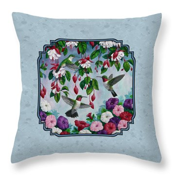 Throw Pillow Duvet Covers : Hummingbirds And Flowers Cyan Pillow And Duvet Cover Painting by Crista Forest