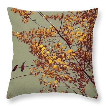 Hummingbirds On Yellow Tree Throw Pillow