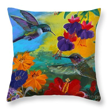 Hummingbirds Prayer Warriors Throw Pillow
