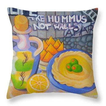 Hummus Behind A Wall Throw Pillow