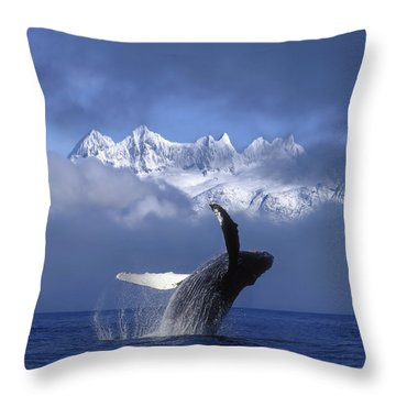 Humpback Whale Breaches In Clearing Fog Throw Pillow