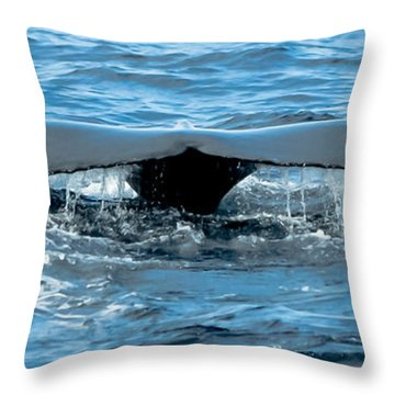 Humpback Whale Tail Off Bermuda Throw Pillow by Jeff at JSJ Photography