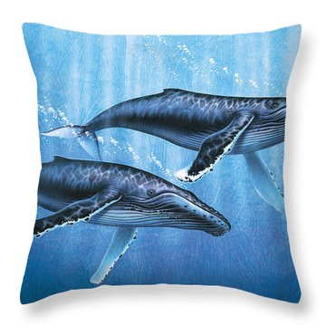 Humpback Whales Throw Pillow by JQ Licensing