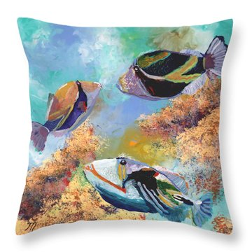 Humuhumu 3 Throw Pillow by Marionette Taboniar