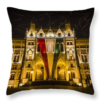 Hungarian Parliament At Night Throw Pillow