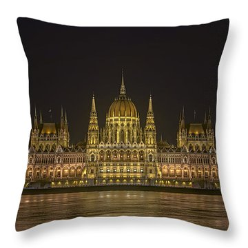 Hungarian Parliament Building Night Throw Pillow
