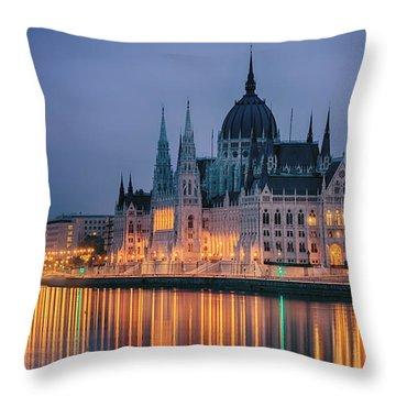 Hungarian Parliament Dawn Throw Pillow by Joan Carroll