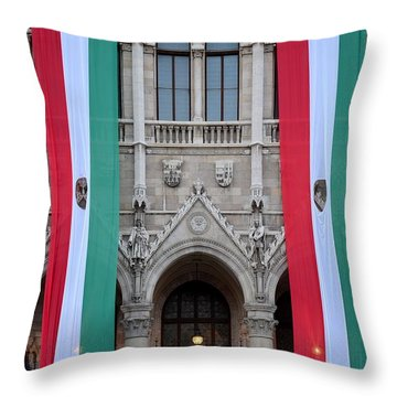 Hungary Flag Hanging At Parliament Budapest Throw Pillow by Imran Ahmed