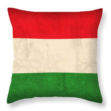 Hungary Flag Vintage Distressed Finish Throw Pillow by Design Turnpike