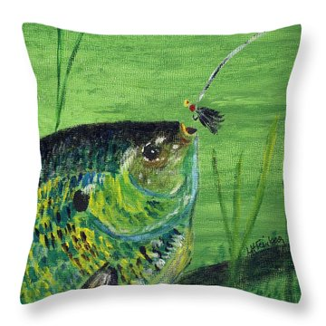 Hungry Bluegill Throw Pillow