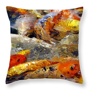 Hungry Koi Throw Pillow