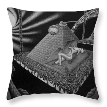 Throw Pillow featuring the drawing Hungry Observers by Geni Gorani