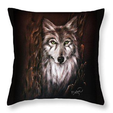 Throw Pillow featuring the drawing Hunter In The Night by Patricia Lintner