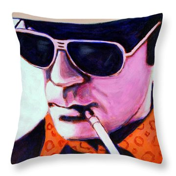 Hunter S Thompson Throw Pillow by Bob Baker